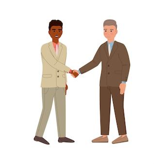Dwóch biznesmenów w garniturach, uścisk dłoni, zawiera umowę. postaci z kreskówek na białym tle.