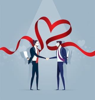 Dwóch biznesmenów w masce shake hands and hold knife. pojęcie biznesu