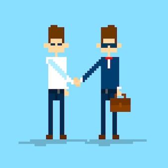 Dwóch biznesmenów wstrząsnąć, business handshake umowy