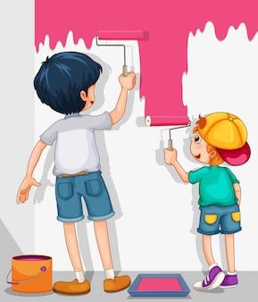 Dwóch chłopców malujących ścianę na różowo