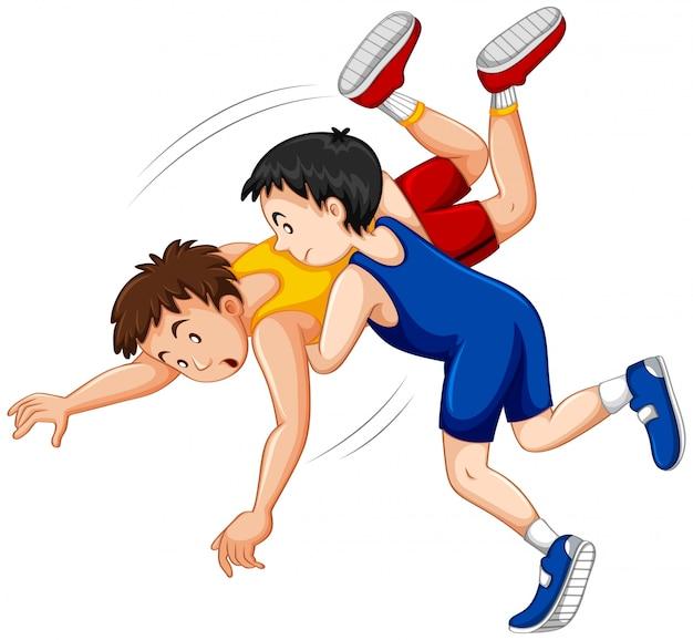 Dwóch chłopców walczących o zapasy judo na zawodach sportowych