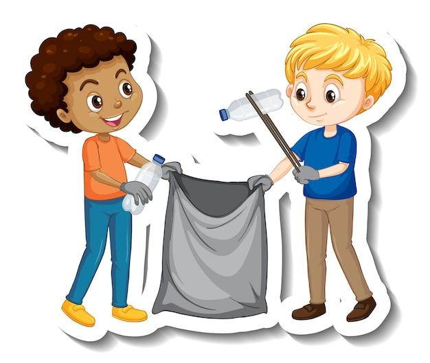 Dwóch chłopców zbierających śmieci naklejkę z postacią z kreskówek