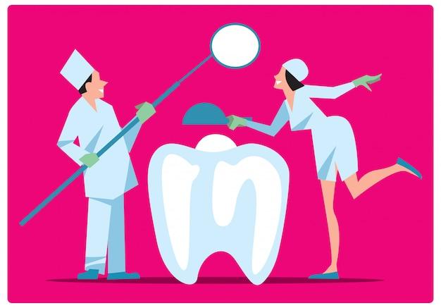 Dwóch dentystów leczenia zęba