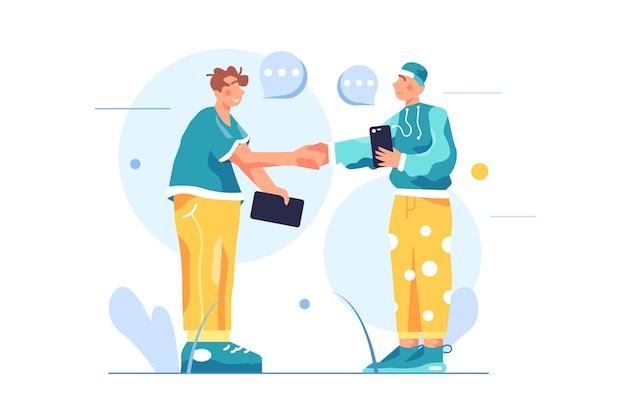 Dwóch facetów podaje sobie ręce i zawiera umowę