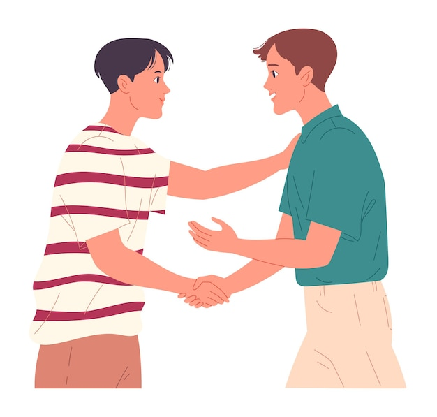 Dwóch facetów ściska dłonie, kiedy się witają