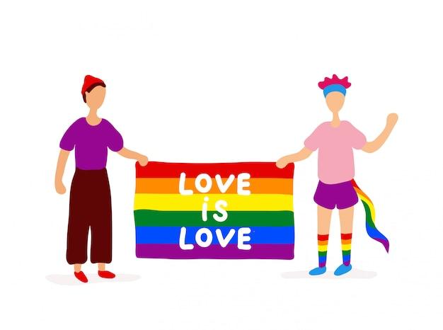 Dwóch gejów posiadających tęczową flagę