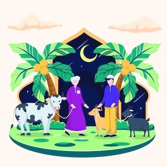 Dwóch islamskich mężczyzn ubranych na fioletowo prowadzi krowę. mężczyzna ubrany w niebieską koszulę prowadzi dwie kozy za meczet księżycowy.