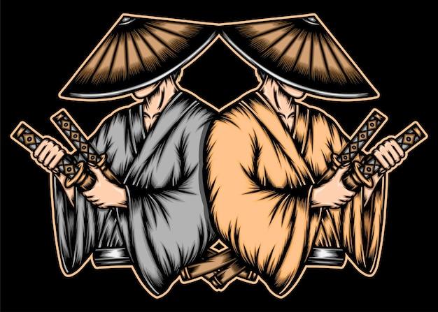 Dwóch japońskich samurajów.