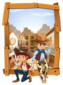 Dwóch kowbojów na wsi
