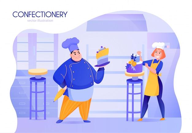 Dwóch kucharzy cukierników w kreskówce w mundurze dekorującym ciasta