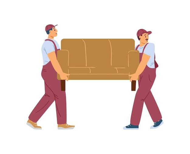 Dwóch ładowaczy lub przeprowadzki człowiek niosący kanapę płaską wektorową ilustrację na białym tle
