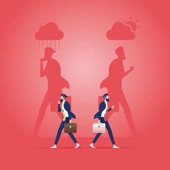 Dwóch ludzi biznesu z cieniem w dobrym nastroju i zły nastrój-koncepcja biznesowa