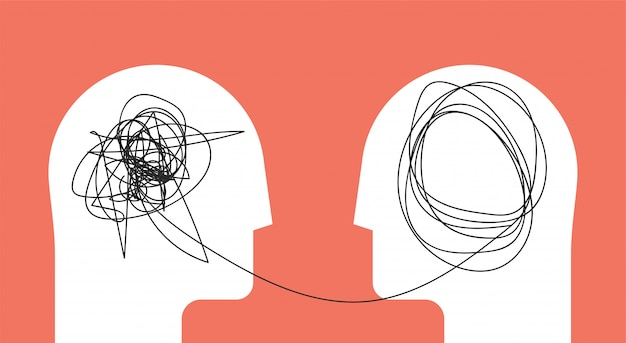 Dwóch ludzi głowy koncepcja psychoterapia sylwetka głowy.