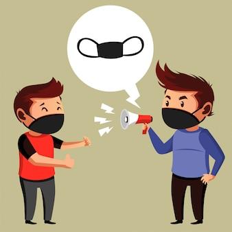Dwóch ludzi robi propagandę sugerującą maski