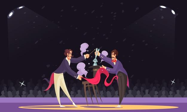Dwóch magów wykonujących sztuczkę z kapeluszem i królikiem w cyrkowej kreskówce