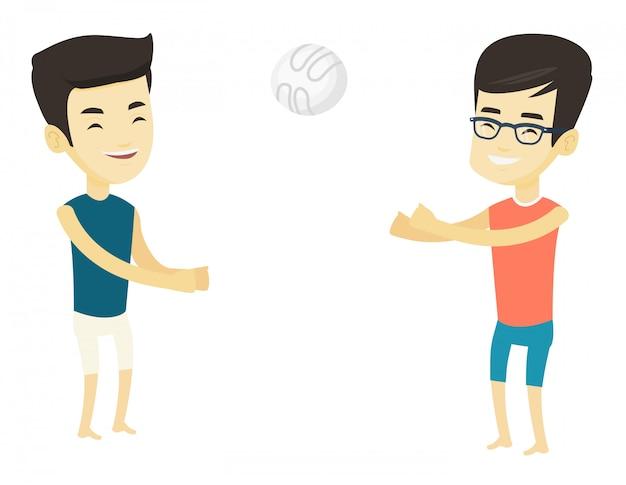 Dwóch mężczyzn grających w siatkówkę plażową.