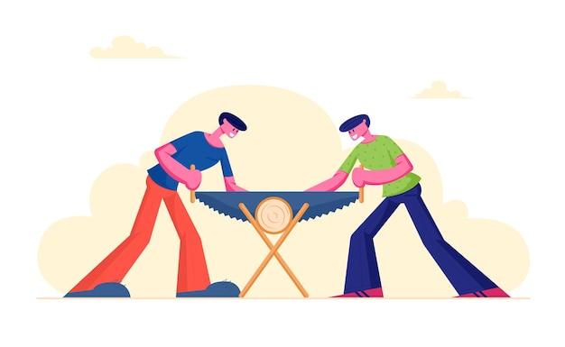 Dwóch mężczyzn piłowanie kłody drewna. stolarze z piłą w rękach robi współpracę stolarską, płaskie ilustracja kreskówka