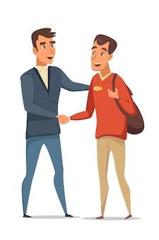 Dwóch mężczyzn podają sobie ręce, spotykają się i witają z przyjaciółmi, porozumienie z biznesmenami.