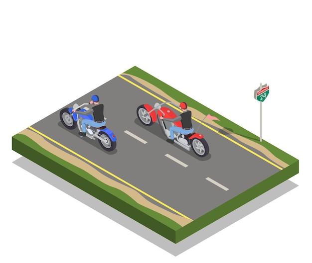 Dwóch mężczyzn rowerzystów jeżdżących na czerwono-niebieskich motocyklach skład izometryczny