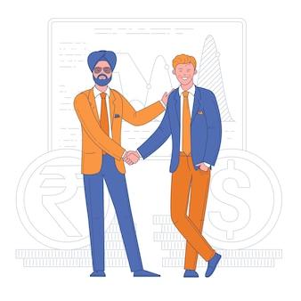 Dwóch młodych mężczyzn, ściskając ręce w nowoczesnym biurze. uścisk dłoni różnorodności. umowa w sprawie koncepcji płaska konstrukcja transakcji biznesowej.