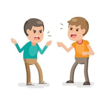 Dwóch młodych mężczyzn walczących gniewnie i krzyczących na siebie