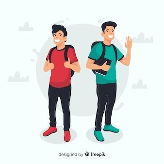 Dwóch młodych studentów