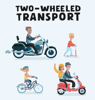 Dwóch motocyklistów z zestawem akcesoriów. kaski, plecak i olej silnikowy. narzędzia, okulary przeciwsłoneczne, maska i rękawiczki.
