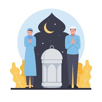 Dwóch muzułmanów, mężczyzna i kobieta, witają nadchodzący ramadan.