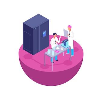 Dwóch naukowców przeprowadza eksperyment laboratoryjny. laboratorium chemiczne 3d izometryczny z ilustracji wektorowych sprzęt laboratoryjny