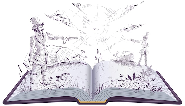 Dwóch panów stoczyło pojedynek na zabytkowych pistoletach. otwarta książka ilustracyjna powieść. na białym tle