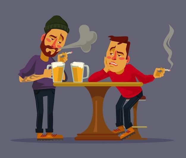 Dwóch pijanych przyjaciół dyskutuje o problemach
