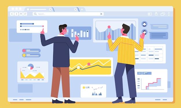 Dwóch postaci mężczyzna szuka i omawia grafikę informacji biznesowych na ekranie