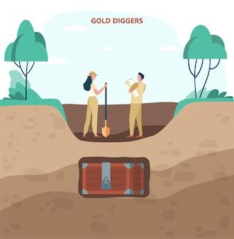 Dwóch poszukiwaczy złota w poszukiwaniu płaskich ilustracji skarbów. kreskówka mężczyzna i kobieta z łopatą i mapami, wykopując skrzynię skarbów. złoto, poszukiwanie skarbów, koncepcja złotej gorączki