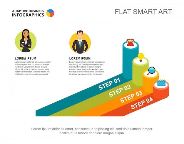 Dwóch przedsiębiorców przetwarza szablon wykresu do prezentacji. wizualizacja danych biznesowych.