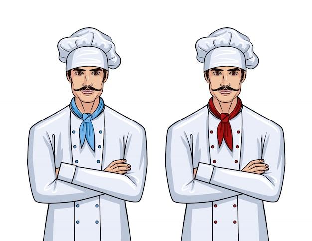 Dwóch przystojnych młodych mężczyzn w mundurze szefa kuchni