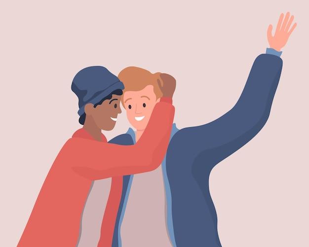 Dwóch przytulających się mężczyzn płaska ilustracja para gejów lgbt