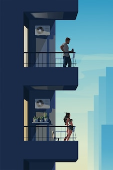 Dwóch różnych sąsiadów na balkonach o zachodzie słońca?