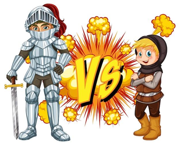 Dwóch rycerzy walczących ze sobą na białym tle