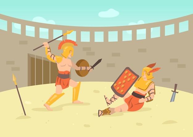 Dwóch rzymskich wojowników w zbrojach walczących na miecze na arenie. ilustracja kreskówka. walka gladiatorów na polu bitwy pod koloseum starożytnego rzymu w grecji. historia starożytna, kultura, koncepcja bitwy