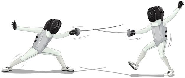 Dwóch sportowców szermierka na białym tle