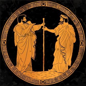 Dwóch starszych w starożytnych greckich szatach pije wino z rogu i rozmawia.