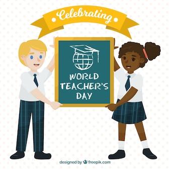 Dwóch studentów obchodzących światowy dzień nauczycieli