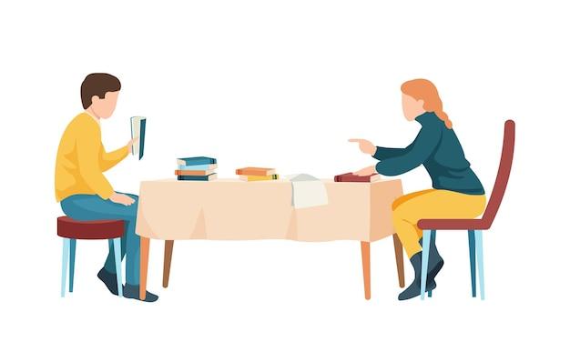 Dwóch studentów z książkami i papierami przygotowuje się do egzaminu przy stole obiadowym płaskiej ilustracji