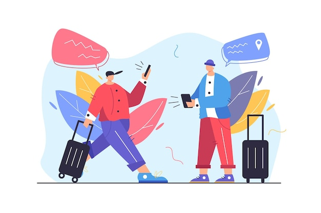 Dwóch turystów facetów szuka sposobu na gadżety mobilne, facet idzie z walizką i telefonem na białym tle na białym tle, płaska ilustracja