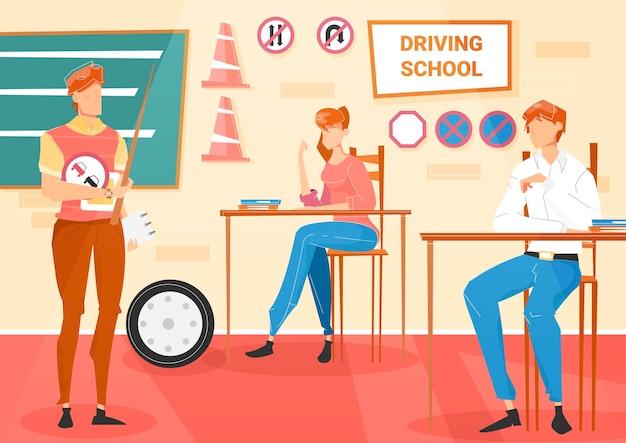 Dwóch uczniów i instruktor na lekcji w mieszkaniu szkoły nauki jazdy