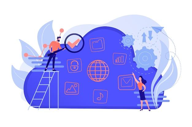 Dwóch użytkowników wyszukuje duże zbiory danych w chmurze. obliczeniowa technologia pamięci masowej, duża baza danych, analiza danych, koncepcja informacji cyfrowej. ilustracja wektorowa na białym tle.