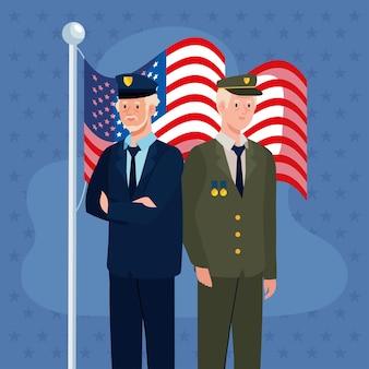 Dwóch weteranów z flagą usa