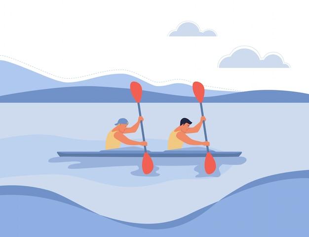 Dwóch wioślarzy pływa w łodzi.