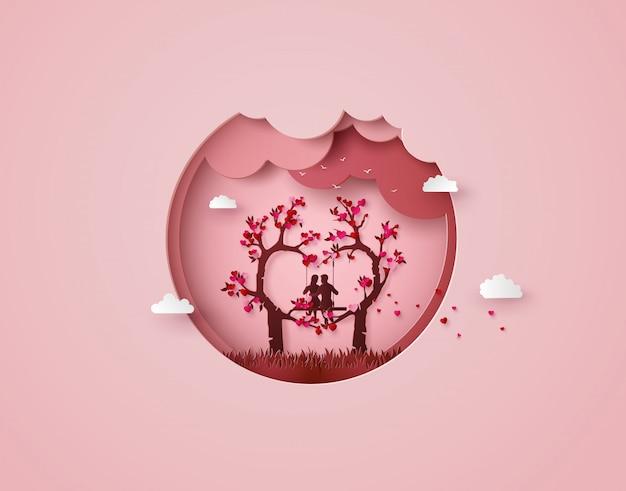 Dwóch zakochanych pod drzewem miłości