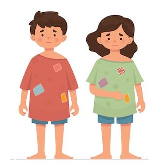 Dwoje biednych dzieci z brudnymi ubraniami